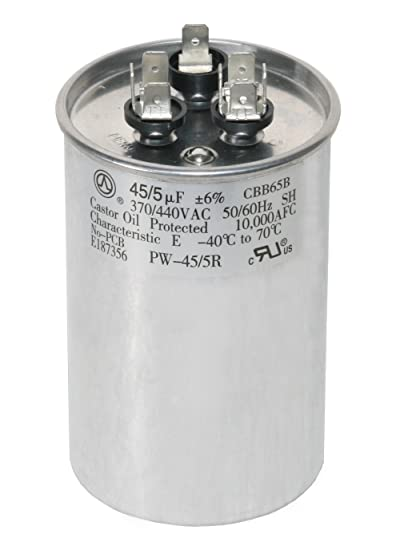 PowerWell 45+5 MFD 45/5 uf 370 or 440 Volt Dual Run Round Capacitor PW-45/5/R  for Condenser Straight Cool or Heat Pump Air Conditioner - Guaranteed to  Last 5 Years: Amazon.com: Industrial & ScientificAmazon.com