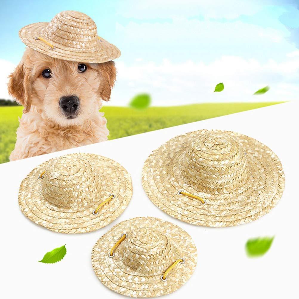 Tama/ño S Sombrero de Cosplay de Chihuahua Ajustable Sombrero de Decoraci/ón de Fiesta Mexicana Divertida para Perros y Gatos POPETPOP Sombrero de Paja para Mascotas