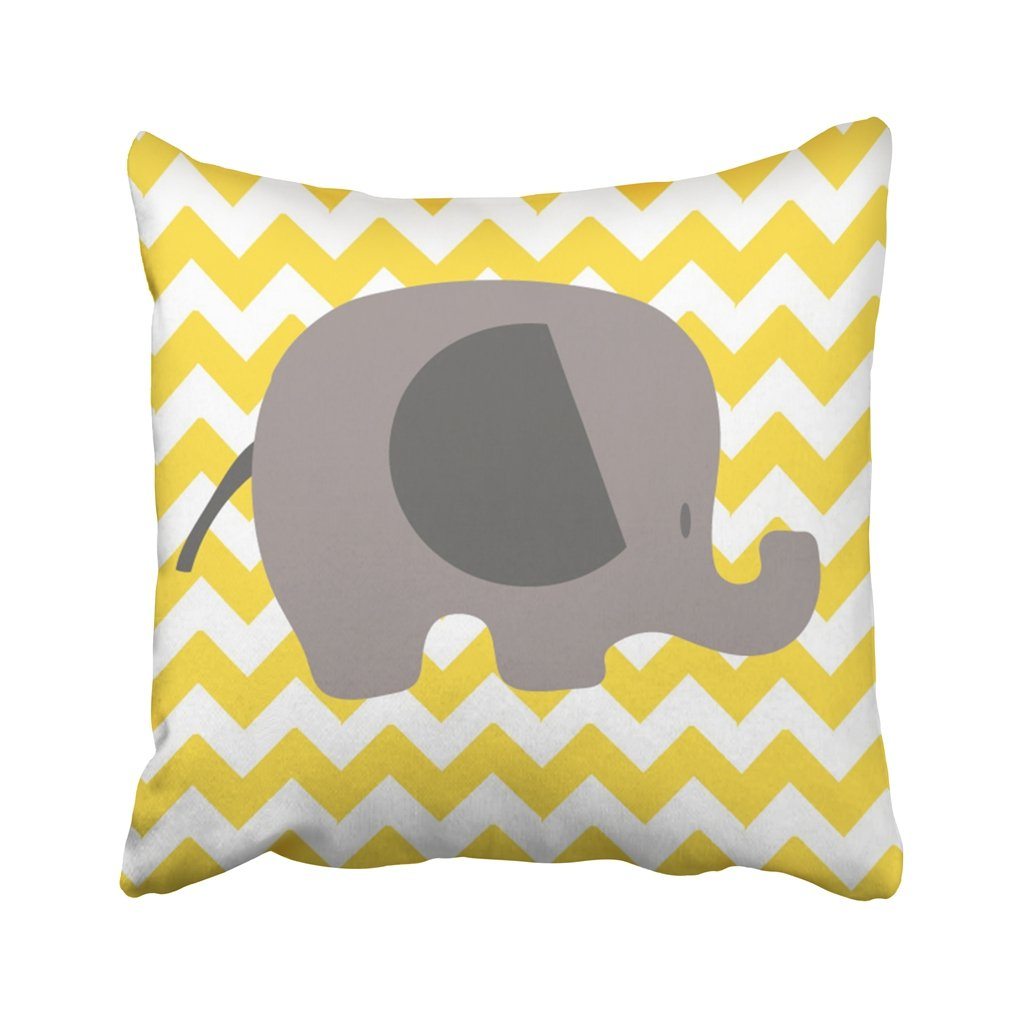 Emvency 18X18 Inch Throw Pillow Cover Polyester Colorful Baby Elephant Chevron Shower Nursery Animal Birthday Cartoon Child Color Cushion Decorative Pillowcase Square Two Side Print For Home