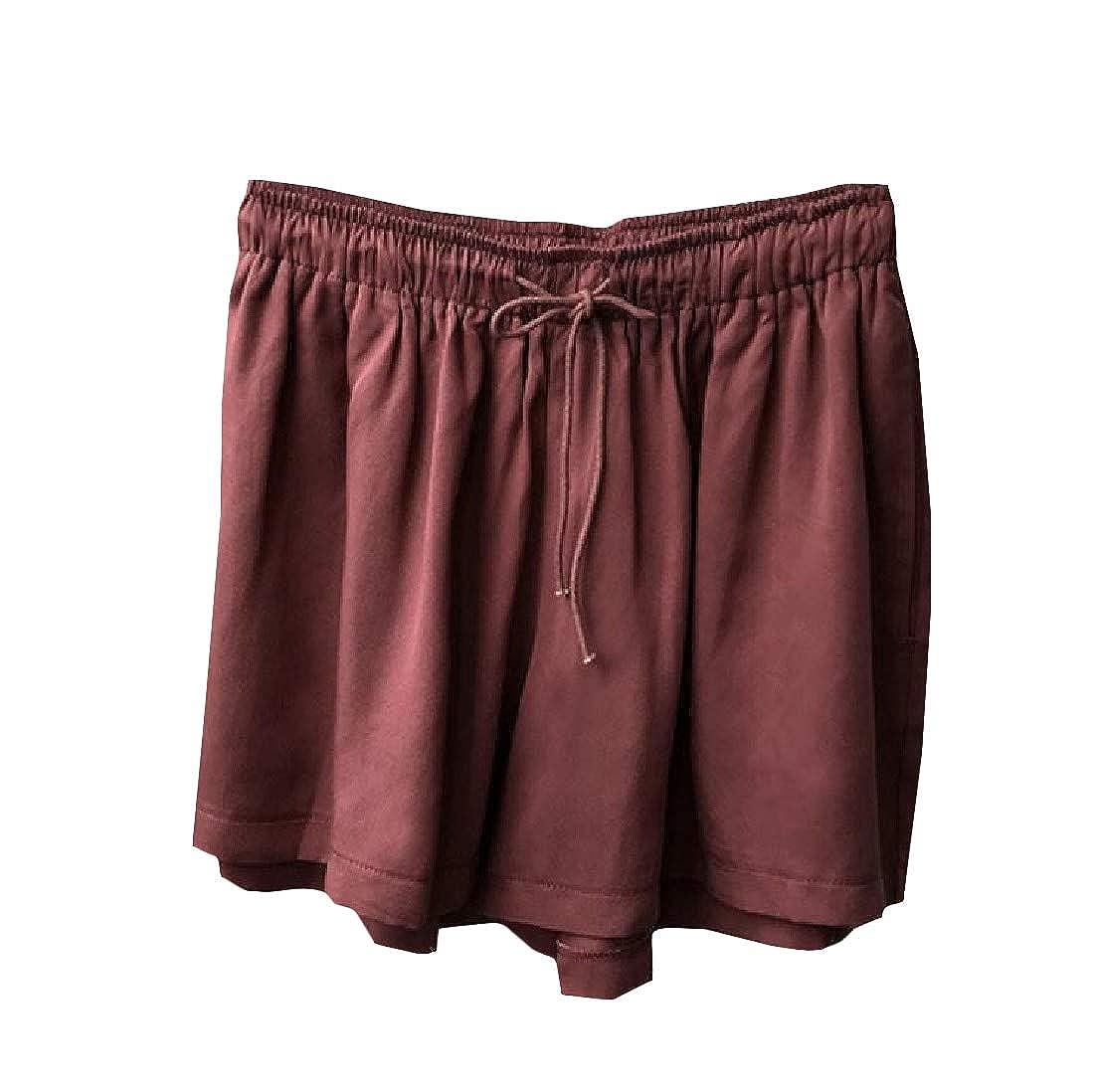 Cromoncent Women Drawstring Summer Elastic Waist Wide Leg Soft Pleated Short Pants