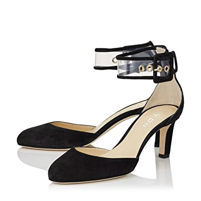 0ee4b813fd4 YDN Women Round Toe Low Heeled D-orsay Pumps Transparent Ankle Straps Thick  Heels Shoes