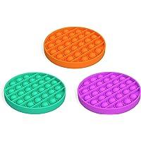 Decdeal 3Pcs Round Push Bubble Special Pop Sensory Toy Relieve Mental Stress Aritmetic Educational Toys