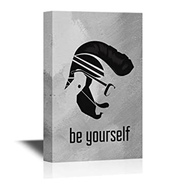 Amazon wall26 hair style canvas wall art be yourself wall26 hair style canvas wall art be yourself silhouette of man with cool hair solutioingenieria Images