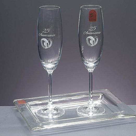 Set/Estuche de 2 Copas de champán para Novios, Bodas de Plata/Oro, Aniversarios + Bandeja de Cristal, colección GASTRO-25 Aniversario, pie en Plata de Ley 925.: Amazon.es: Hogar