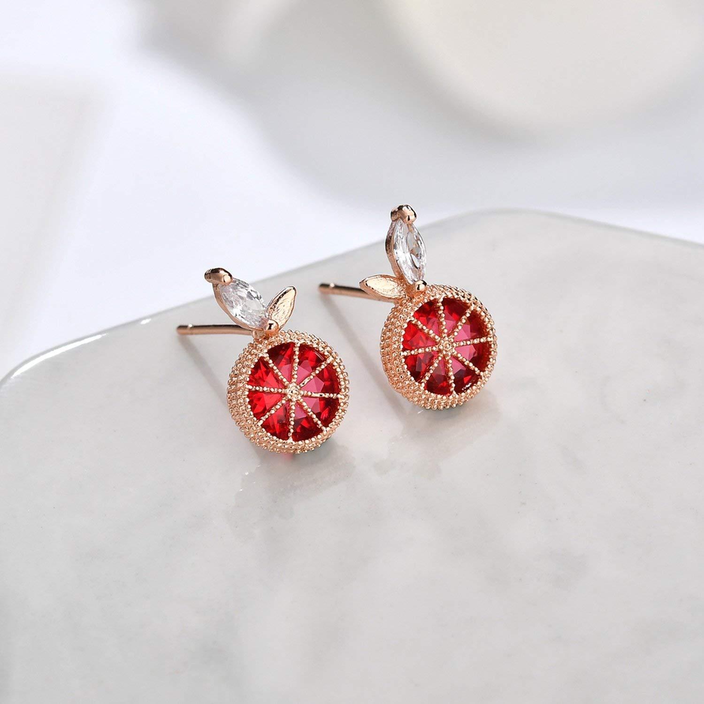 Red Crystal Grapefruit Fruit Stud Earrings For Women Lovely Rose Gold CZ Earrings Birthday Gifts