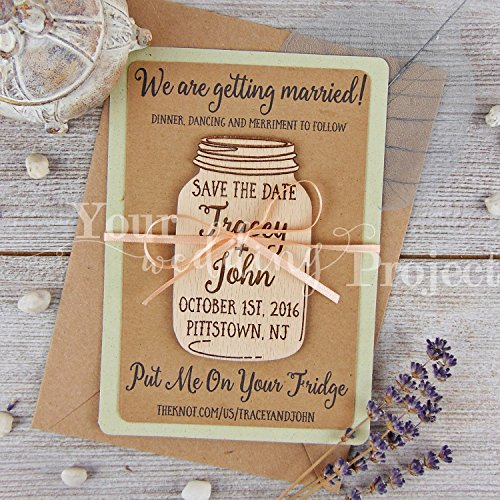 Save the Date Magnet Mason Jar Save the Date Wood Save the Dates Wedding Invitation Wedding Favors Rustic Save the Date Wooden Magnet Set of 10