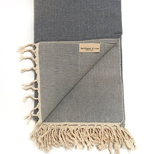 Balthazar & Rose (Product RED Fouta: Herringbone Navy Blue