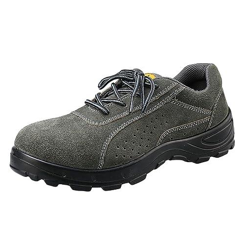 NiSeng Hombres antideslizante calzado de seguridad comodo invierno calzado de trabajo cuero de imitación # Negro