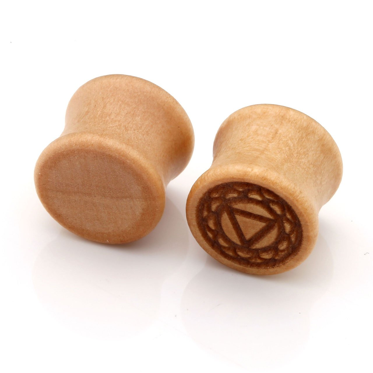 PiercingJ Organic Holz Chakra Plug Set 7 Paare 10-20mm Double Flared Sattel Tunnel Plugs Ohrstecker Ohrpiercing Sahasrara + Ajna + Vishuddha + Anahata + Manipura + Svadhishthana + Muladhara Chakra (Gauge: 10mm)