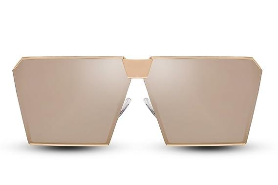 066b0fade5647 Cheapass Gafas De Sol Mujer Dorado Espejadas Rectangular Grande Gafas de  Diseñador UV400 Chicas Mujer Estilo  Amazon.es  Ropa y accesorios