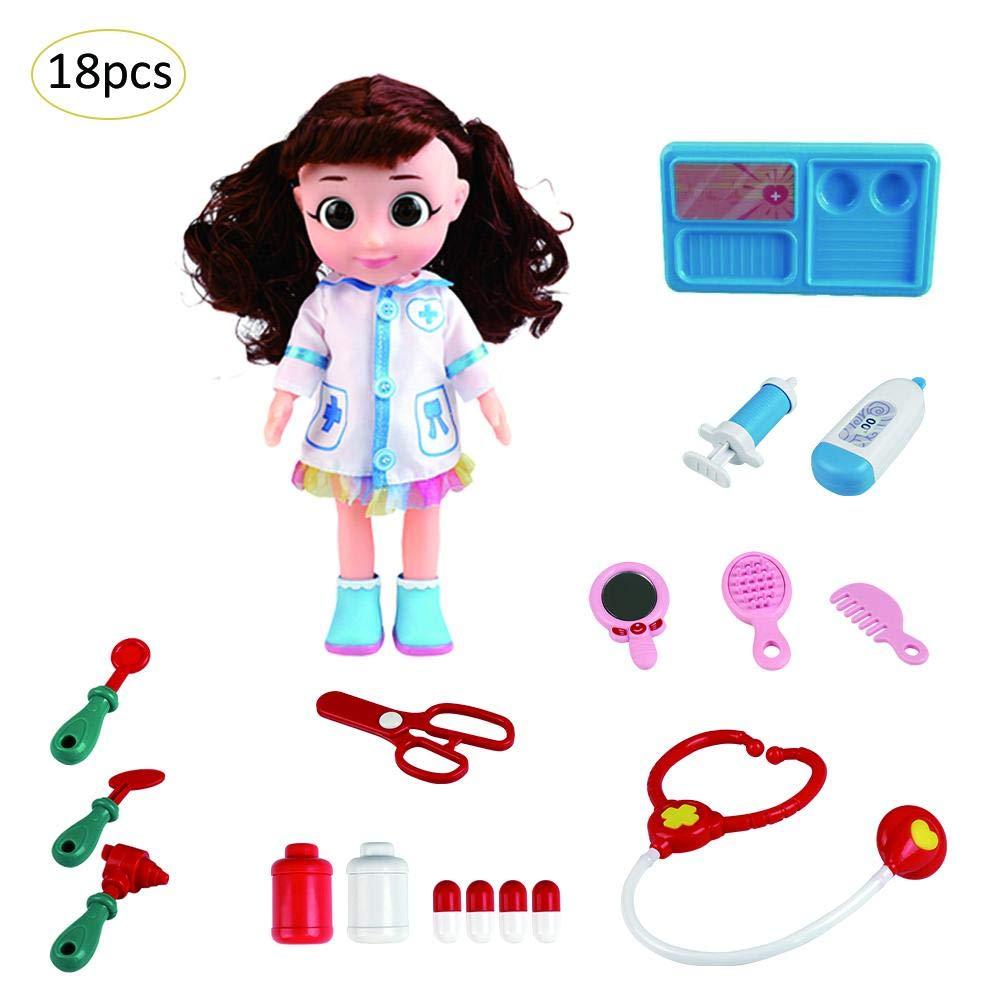 Doktor Kit Play Set Spielzeug, Elektrische simulierte Puppe Pretend Toy Medizinische Geräte Medizinische Rolle Kostüm Play Kit Spielzeug Cosplay Kostüm für Kinder Kinder Kleinkind Szseven