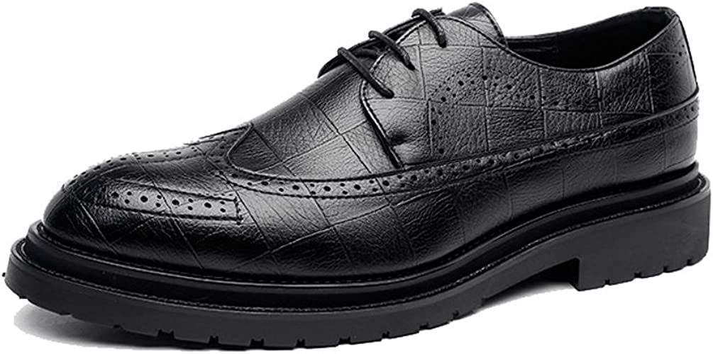 LL Mens Classic PU Leather Shoes Classic Lace Up Breathable Formal Business Lined Oxfords Breathable