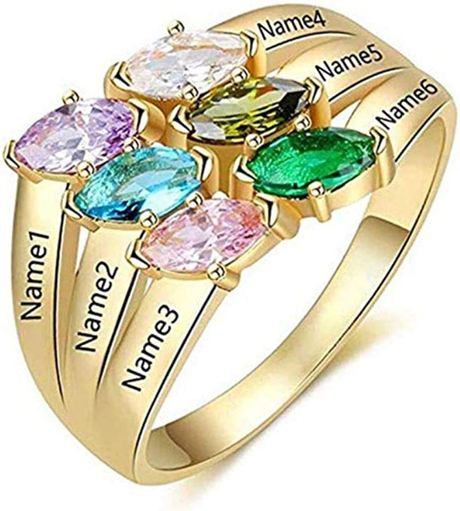 Engraved Name Rings with Birthstone in Silver Rose Gold Women Custom 6 Names Ring Mother's Day Gift for Mom Jewelry