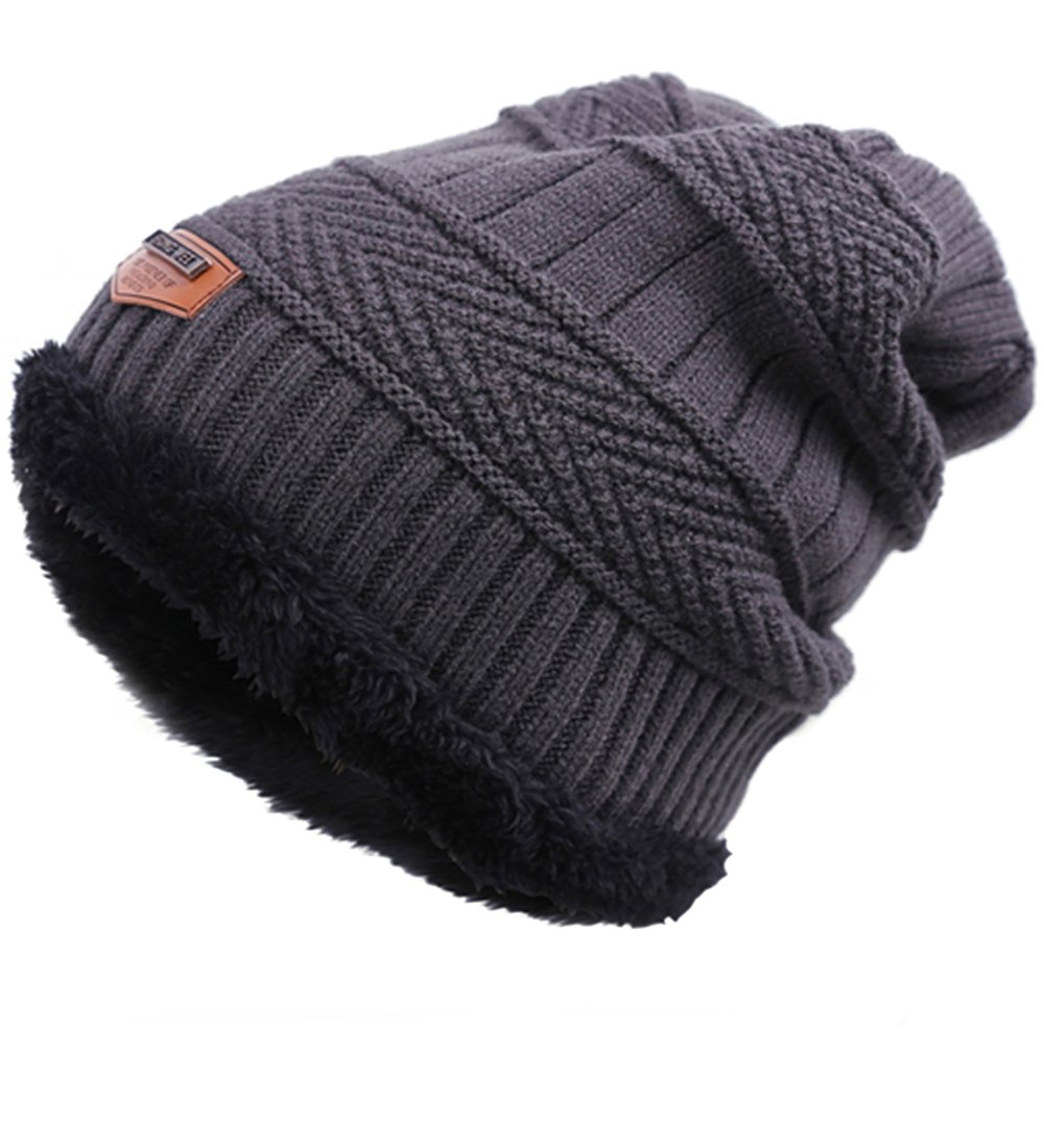 EVRFELAN Winter Women Slouchy Warm Beanie Thick Cable Ribbed Knit Hat Chunky Ski Snow Snowboard Skull Fashion Oversized Lined Men Cap