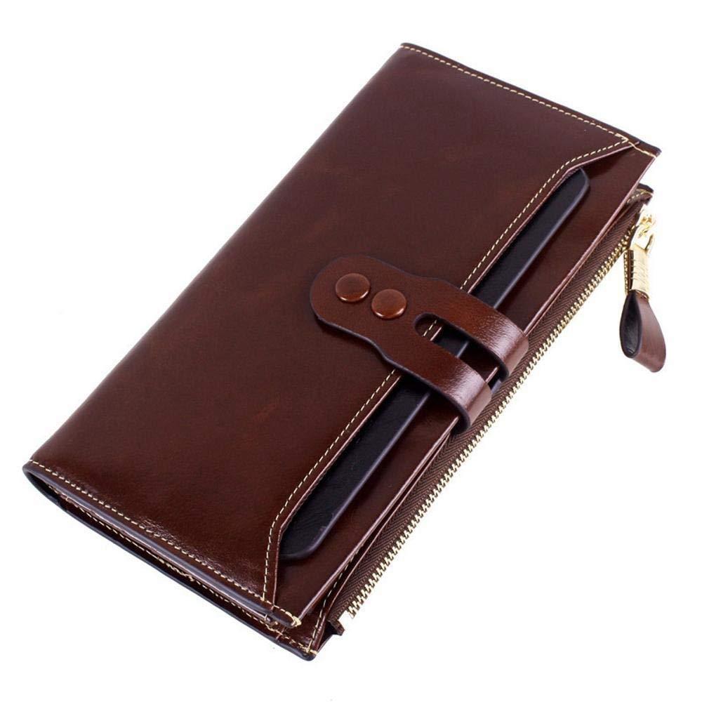Girls Purse Women's Wallet Ladies Wallet Leather Head Cowhide Wallet LargeCapacity Retro Pack