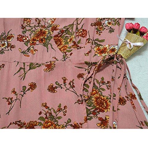 Sexy Spaccato Profondo Della Maxi Boho Floreale Corta Lungo Involucro Rosa Abito Chicfor Donne Collo Estate Vestito Manica V Stampa X1xqwEn04F