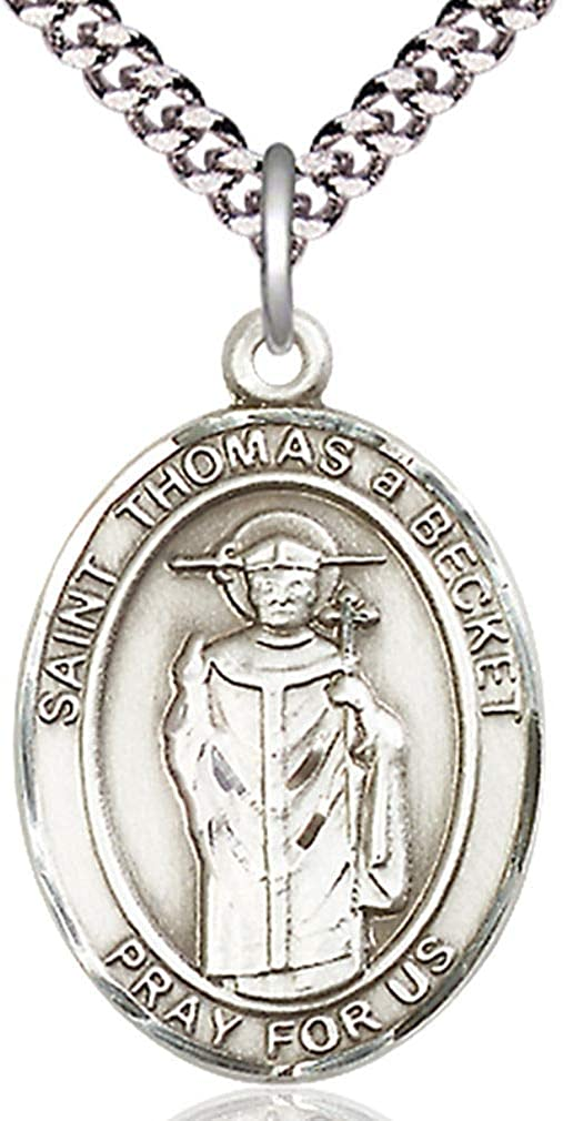 USA Made Heartland Store Mens Pewter Oval Saint Thomas A Becket Medal Chain Choice