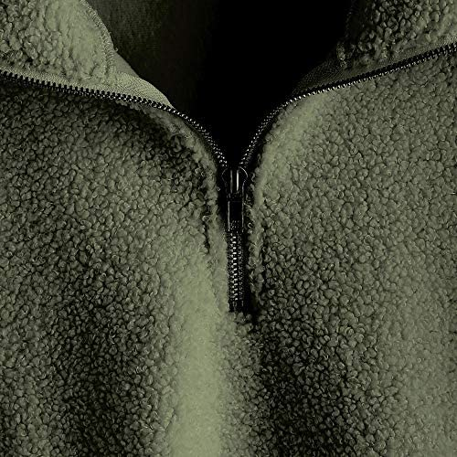 ZAFUL Women's Fashion Long Sleeve Lapel Half Zip Plain Faux Fur Sweatshirt Solid Color Crop Pullover Tops
