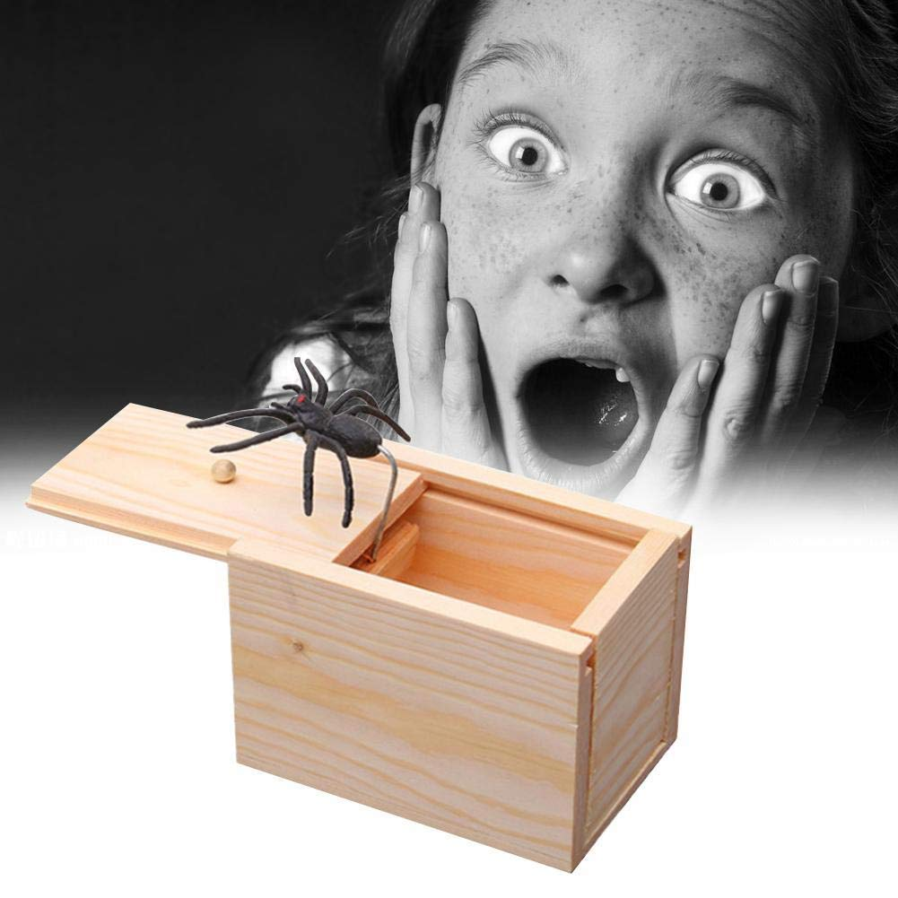 ciera hester 1 Pcs Wooden Prank Spider Scare Box Funny Surprise Personalized Toy Fool Your Friend Big box size