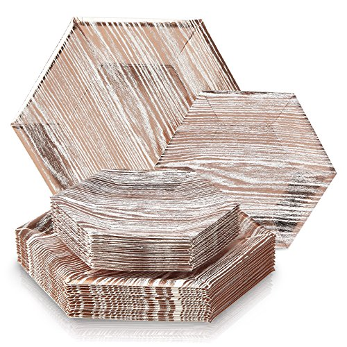 DELUXE DISPOSABLE 432 PC DINNERWARE SET | 216 Dinner Plates and 216 Side Plates  | Heavy Duty Disposable Paper Plates | Hexagon Design |  for Upscale Wedding and Dining (Wood Collection-Rose/White)