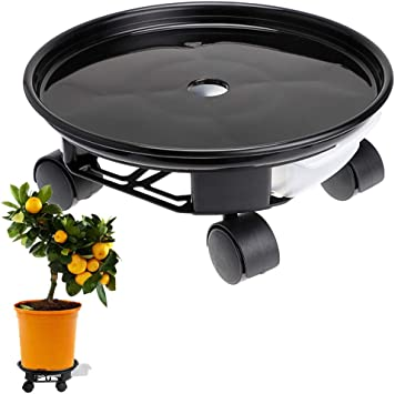 """Movable Planter Dolly Plant Stand Pallet for Heavy Planter Loading Capacity 100 Lbs Skelang 13/"""" Plant Caddy Plant Saucer Pot with Moving Water Drawer"""
