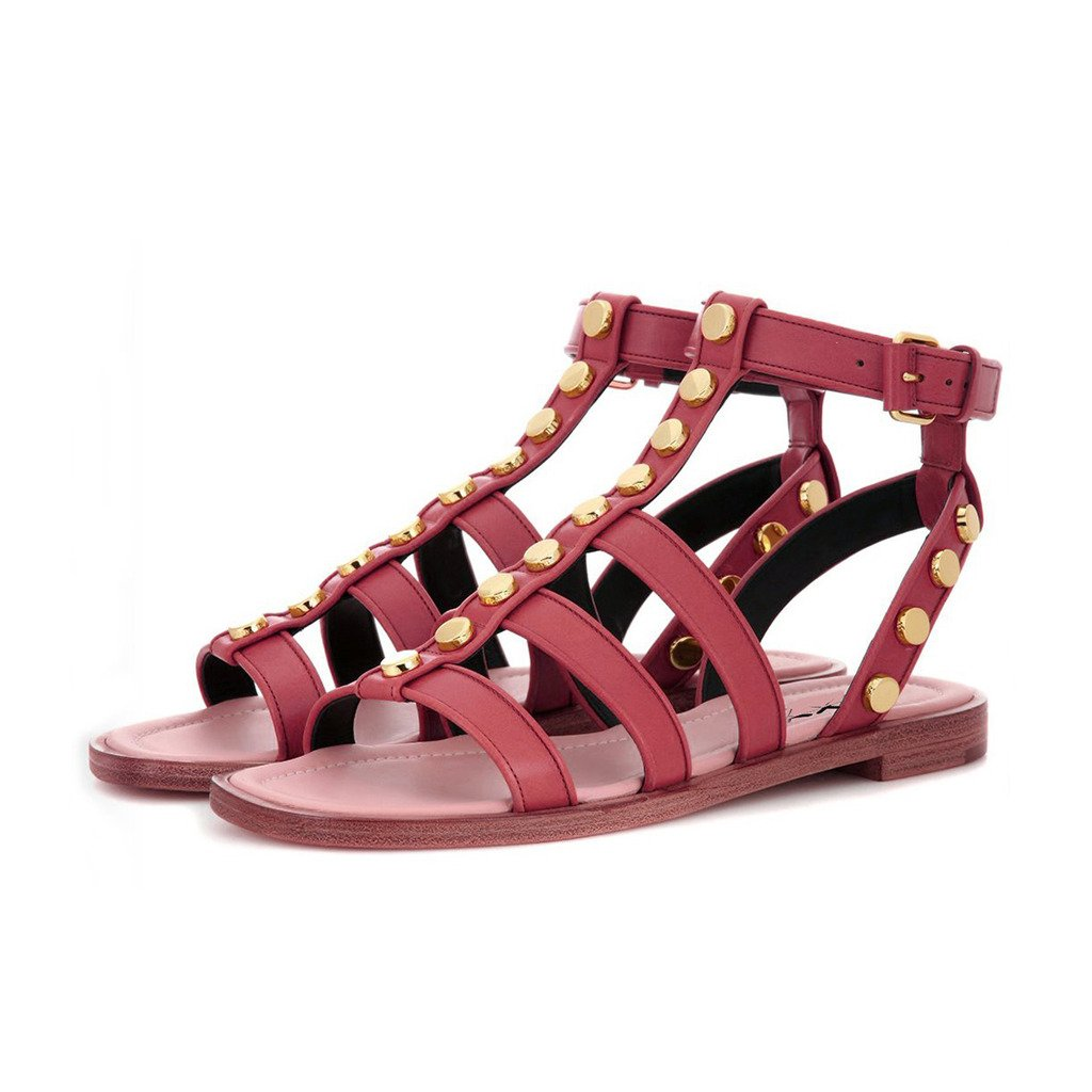 XYD Summer Stylish Studded Flats Open Toe Slingback Sandals Ankle Buckled Strap Shoes for Women B01HJK9QSU 11 B(M) US|Dark Red
