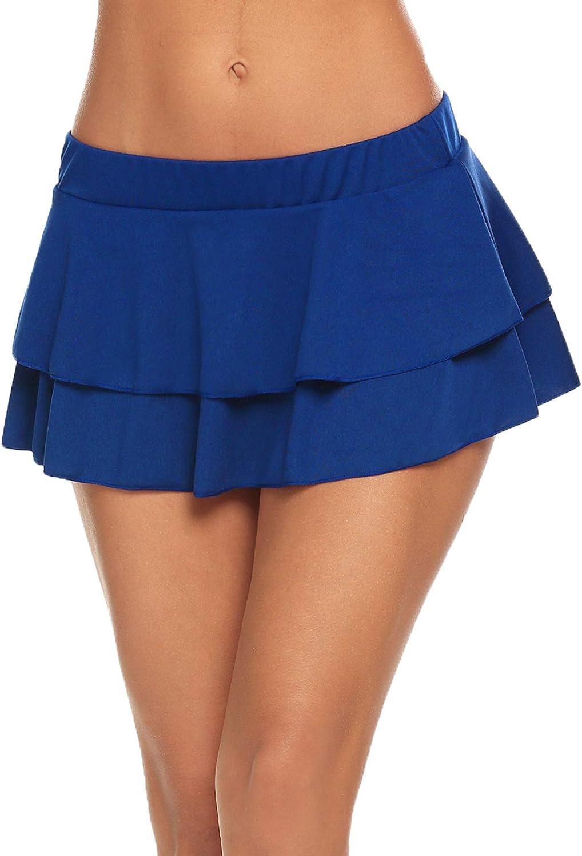 Avidlove Women Pleated Mini Skirt Solid Ruffle Lingerie Skirts