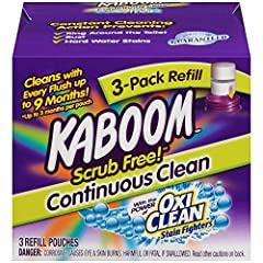 Kaboom Scrub Free! Continuous Clean with OxiClean 3-Pack Refill works with our Toilet Cleaning System to keep your toilet clean for up to nine months. It's the revolutionary way to clean that does all the hard work for you. Simply refill the ...