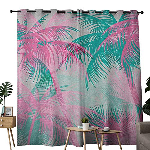 (NUOMANAN Decor Curtains by Palm Leaf,Beach Party Theme Vibrant Composition with Pink and Green Trees Vintage, Pink Teal White,Wide Blackout Curtains, Keep Warm Draperies, Set of 2)