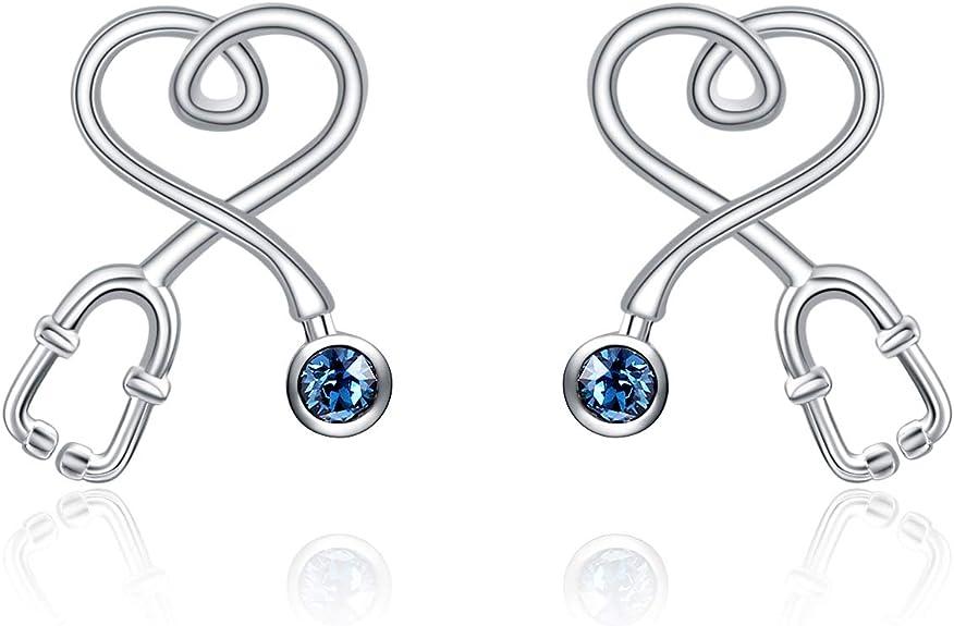 14k Rose Gold Mini Stethoscope Earrings Sterling Silver Stethoscope Earrings Nurse Gift RN Nurse Earrings Nurse Graduation Doctor