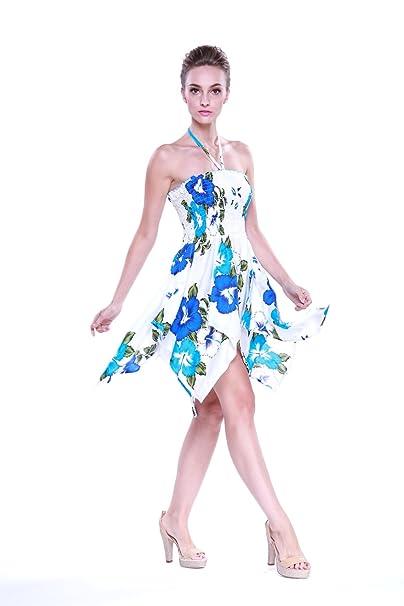 Vestido gitano Vestido hawaiano Vestido Luau Vestido de hada en Blanco con azul y turquesa floral