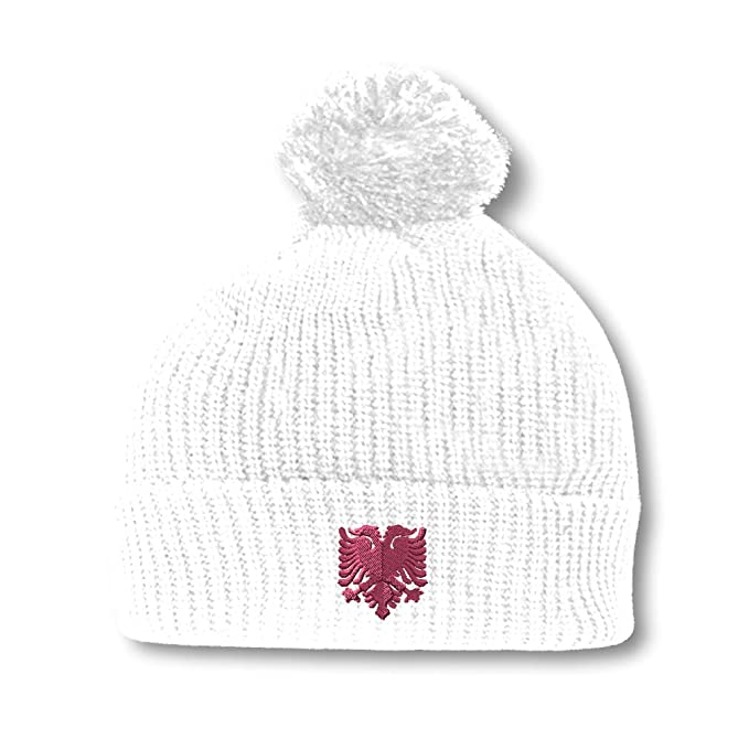 21cf034a0b3501 Pink Albanian Eagle Embroidery Embroidered Pom Pom Beanie Skully Hat Cap  White