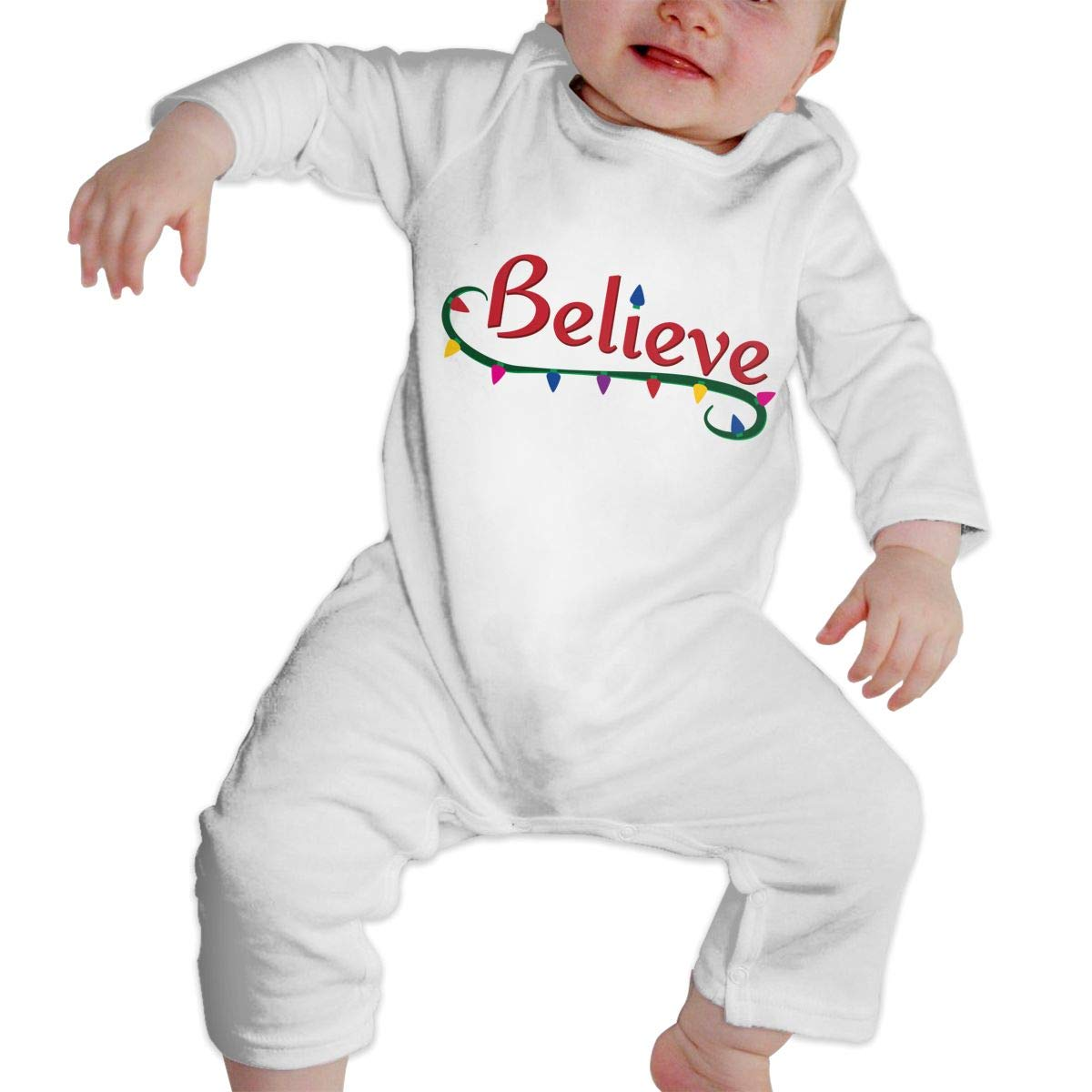 KAYERDELLE Christmas Santa Clause Believe Long Sleeve Unisex Baby Bodysuits for 6-24 Months Boys /& Girls