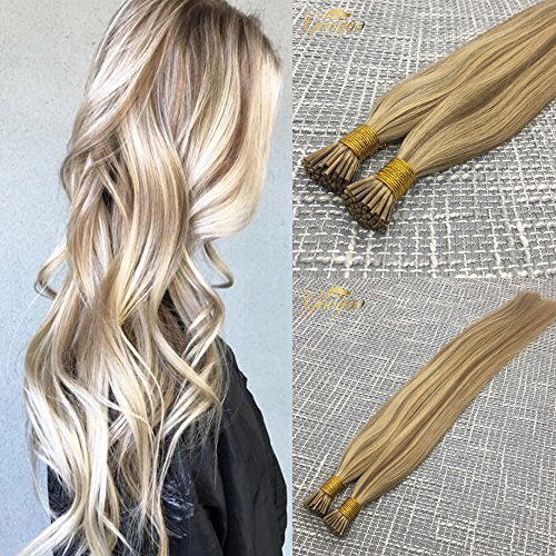 Googoo I Tip Human Hair Extensions Balayage Light Blonde Highlight Golden Blonde 16/22 Brazilian Keratin Hair Extensions 50 Strands 1g/s 50gram Human Hair Extensions 20inch ()