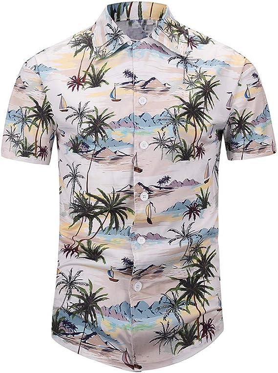 Camiseta Hombre MISSWongg Camisas Hawaiana Secado rápido Manga Corta Ligero Transpirable Tops con Botones Casual Estampado Camisa de Fiesta Suelto Vacaciones de Ocio Verano Blusa: Amazon.es: Ropa y accesorios