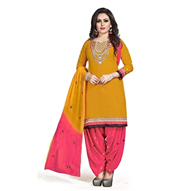 d93e916229 BigMart99 Womens Yellow & Pink Unstitched Embroidered Cotton Dress Material  Chiffon Dupatta (01227-791): Amazon.in: Clothing & Accessories