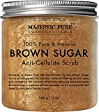 scrub Majestic Pure Brown Sugar Scrub, Natural Exfoliator and Powerful Body and Facial Scrub for Anti Cellulite Treatment, Stretch Marks, Acne, and Varicose Veins - 12 oz
