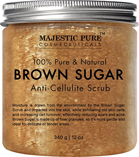 Majestic Pure Brown Sugar Scrub, Natural Exfoliator and Powerful Body and Facial Scrub for Anti Cellulite Treatment, Stretch Marks, Acne, and Varicose Veins - 12 oz