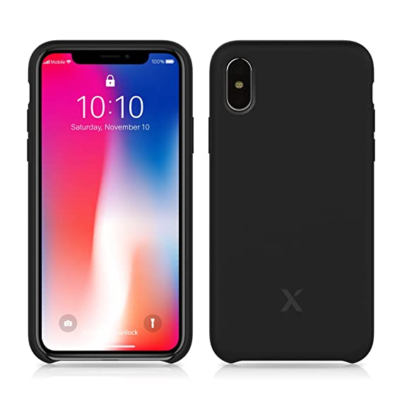 premium selection ac50c abf12 iPhone X Silicone Case - Xcentz iPhone X Silicone Case, Soft Liquid  Silicone Case with Microfiber Lining, Camera and Screen Protection,  Wireless ...