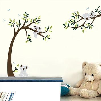 Ufengke Grosser Baum Cartoon Tiere Koala Wandsticker Babyzimmer