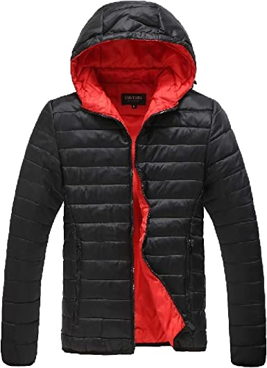 SHOWNO Mens Stand Collar Faux Fur Lined Zip Front Warm Down Quilted Coat Jacket Outwear