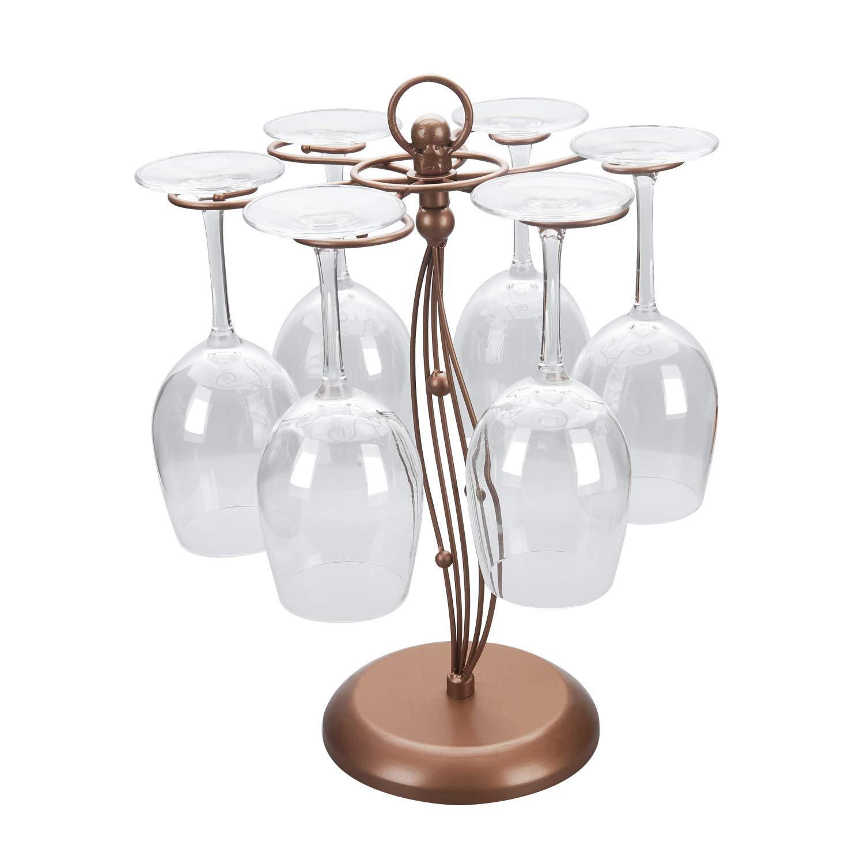 Asense Tabletop Freestanding Wine Glass Stemware Metal Rack, Holder with 6 Hooks, Copper Metal
