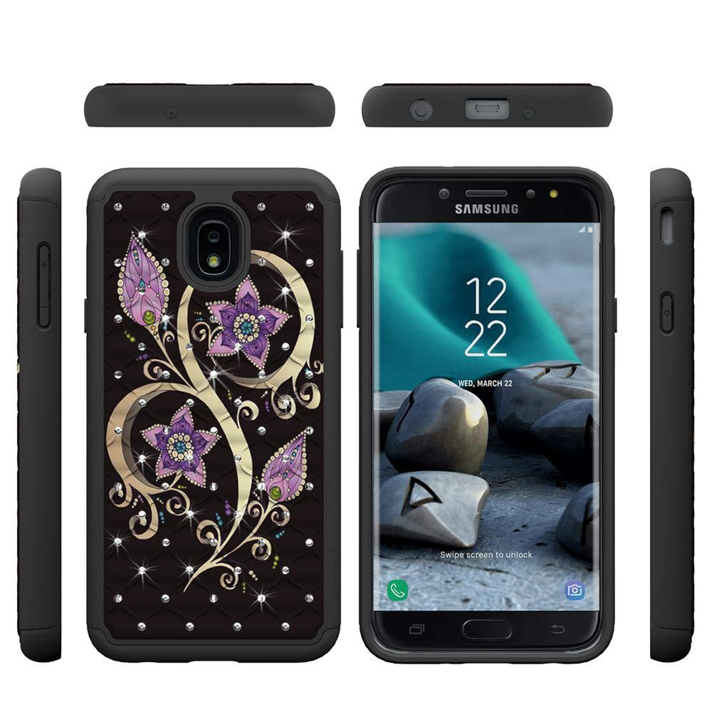 Firefish Galaxy J7 2018 Case,Durable Anti Sliding 2 in 1 Hybrid Case Back Cover Hard PC with Creative Pattern & Point Drill Inner Soft TPU Bumper Case ...