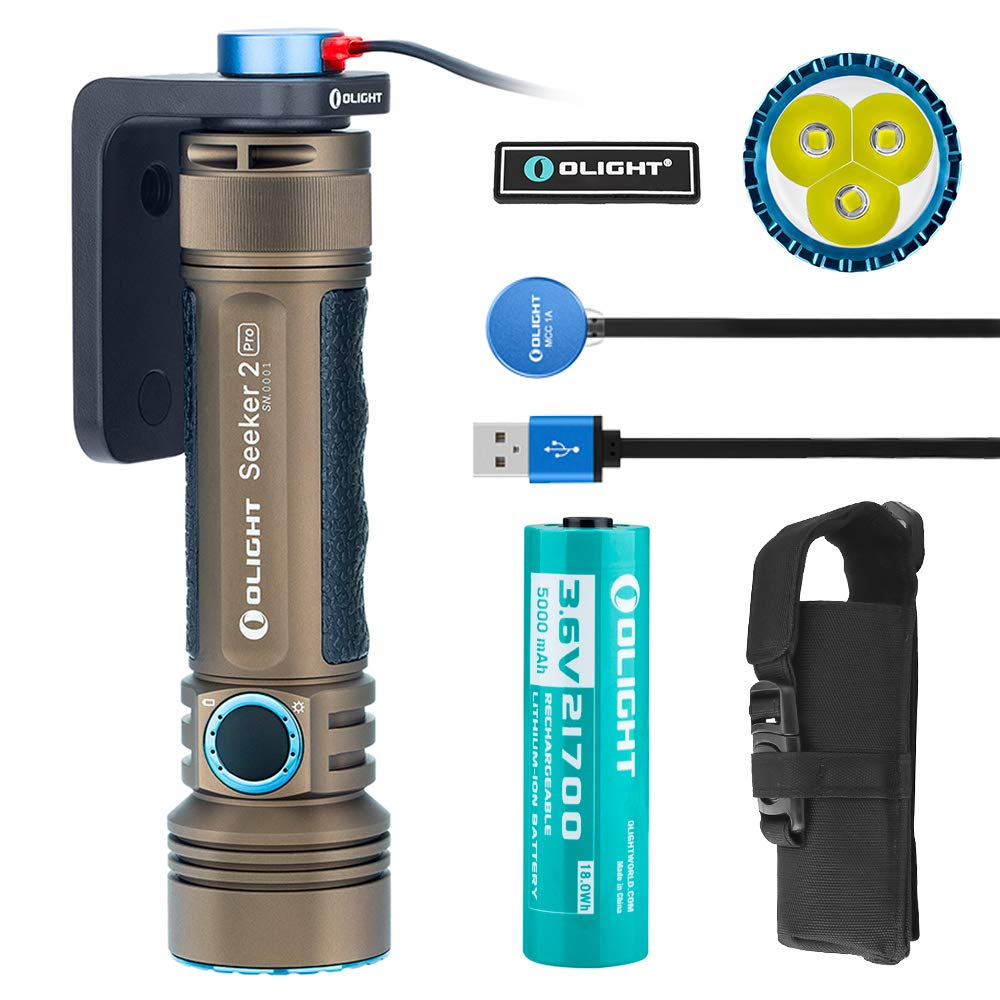 OLIGHT Seeker 2 Pro 3200 Lumens Three Cree XP-L HD CW LED Side Switch Rechargeable Tactical Flashlight Law Enforcement Searchlight with Charging Dock Patch (Desert Tan) by OLIGHT