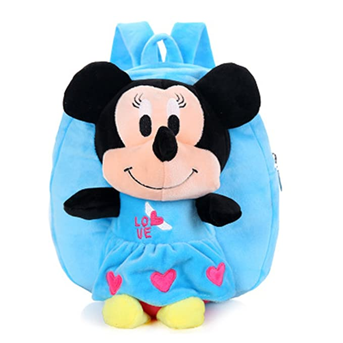 dc5da1891bd YOURNELO Kid s Plush Mickey Mouse Preschool Toddler Toys Bag Backpack  Schoolbag (B-Mickey blue