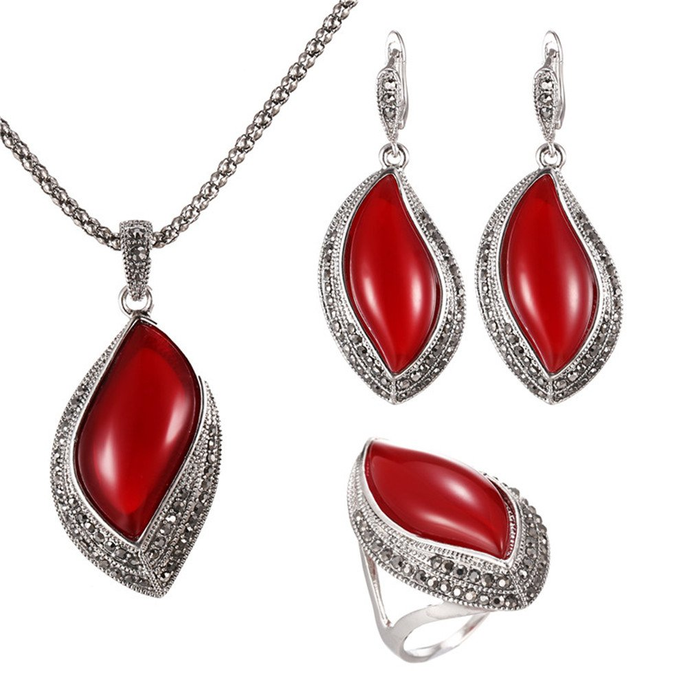 LUYUAN JEWELRY Love Leaf Red Jewelry Set for Women Gemstone Diamond Necklace Earring Set Ring Fashion Wedding Party Accessories - Ring$8