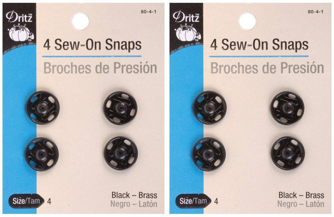 Black Sew-On Snaps-Size 4 4//Pkg