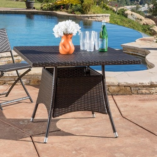 Decor Furniture Corsica Gabriella Outdoor Wicker Square Dining Table Brown