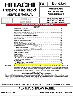 hitachi p50h401 p50t501 p50h4011 service manual hitachi amazon rh amazon com