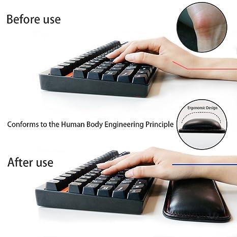 Tastatur Handgelenkauflage pad-exco Handgelenk liegt, Memory Foam rutschfeste Schwarz PU Leder Palm Support Wrist Pad Handgelenk Kissen f/ür Laptops//notebooks//Mac Book////PC//Computer/×2.5cm